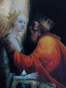 "Ilustración ""Depois de morta foi rainha (1987), de Lima de Freitas. Portada del libro Inês de Portugal de João Aguiar. Inés de Castro."